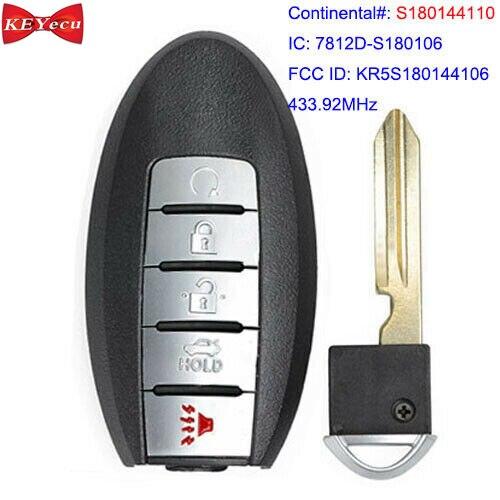 KEYECU pour Nissan Rogue 2017 2018 télécommande voiture porte-clés 5 boutons S180144110 433.92MHz KR5S180144106