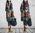 Nova moda Outono longa camisola solta pulôver das mulheres de manga comprida impressão rabisco personalizado camisas básicas casacos plus size