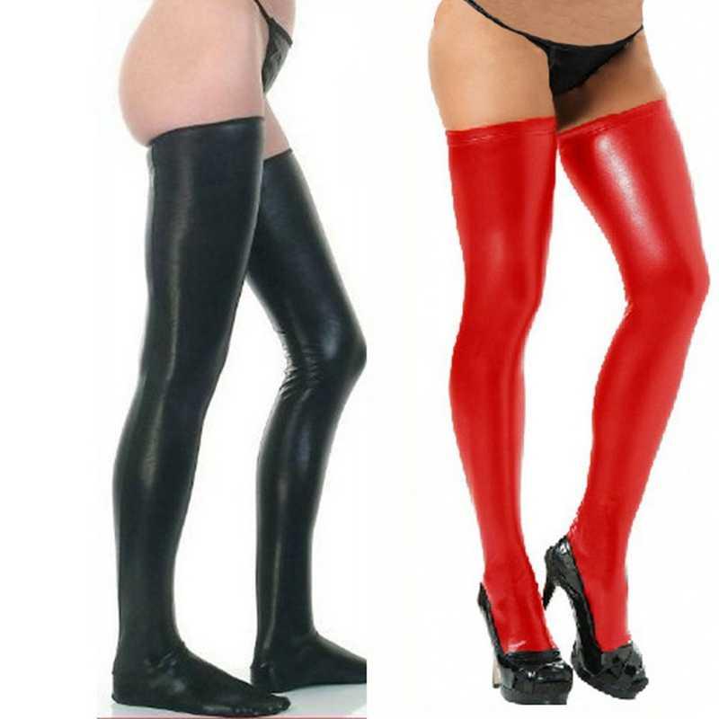 Frauen Strümpfe Spandex Oberschenkel Latex Socken Glam Rock Gothic Wetlook Schwarz