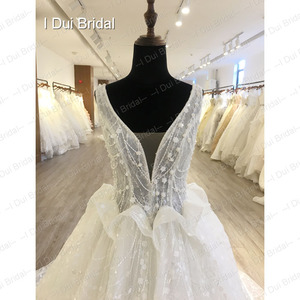 Image 4 - Shinny Bling Wedding Dress Bridal Gown V Neck Ball Gown Illusion Button Back