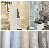 Papel De Parede Luxury Flock Non Woven Glitter Metallic Classic Silver Damask Wallpaper Design Modern Textured