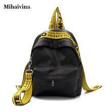 Mihaivina ежедневно Для женщин рюкзак для школы подросток Обувь для девочек нейлон цветные ленты Водонепроницаемый Дорожные сумки.