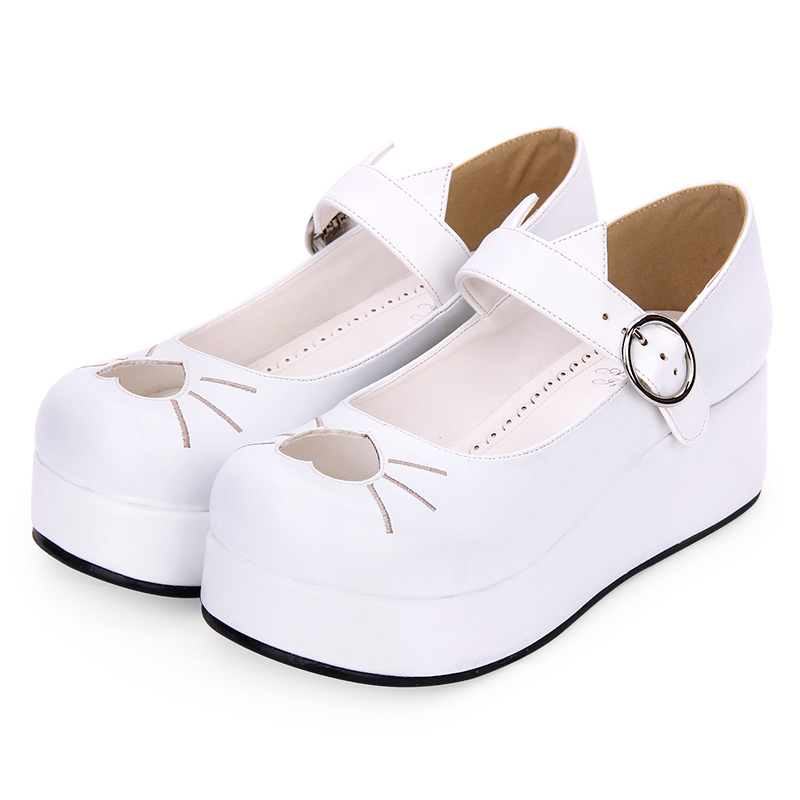 Angelic imprint New Designer Sweet Lolita s Women Pumps shoes PU Leather Embroidery heart shaped Platform shoes size35 46 8967