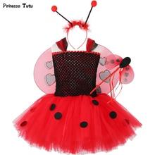 1 Set Ladybug Tutu Dress Baby Girl Birthday Party Dress Kids Halloween Lady bug Costume Outfit Ladybird Girls Fancy Dress Up