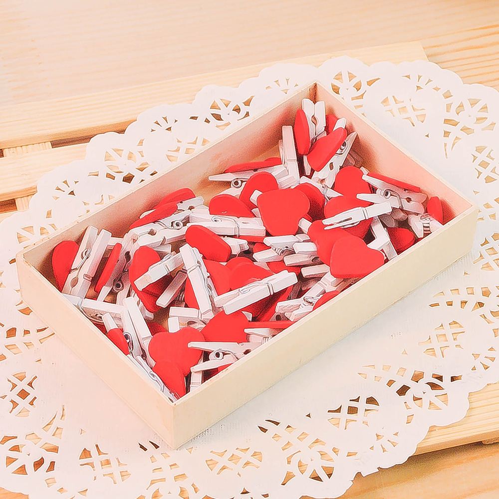 50 Pcs Love Photo Clip Wooden Note Message Folder Photo Wall Decoration Peach Heart Clip Accessories Office Wooden Bookmark