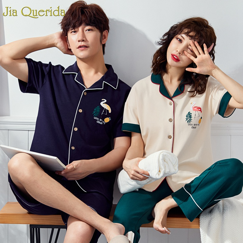 Loungewear Women and Men Matching   Pajama     Set   2019 New Summer Short Sleeves Sleepwear Two Piece Cotton Home Clothing Couple Pjs