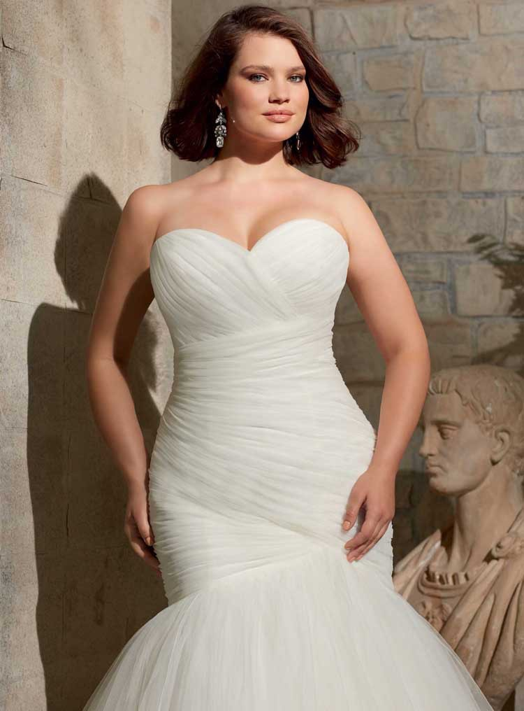 Cheap Pleated Bridal Gown with Lace Plus Size Mermaid Lace up ...