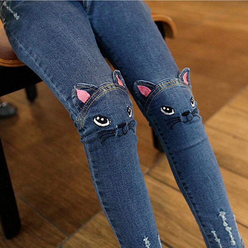 Летние весенние и осенние новые повседневные детские джинсовые брюки с милым котом для девочек мягкие и удобные хлопковые брюки|Джинсы| | АлиЭкспресс