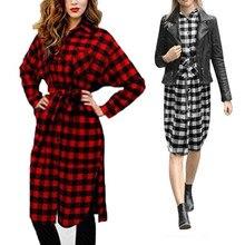 Новый 2017 Для женщин бойфренда с длинным рукавом воротник с лацканами Платья для женщин сетки Plaid Flannel Shirt Dress свободные длинные Блузки для малышек Vestidos платье