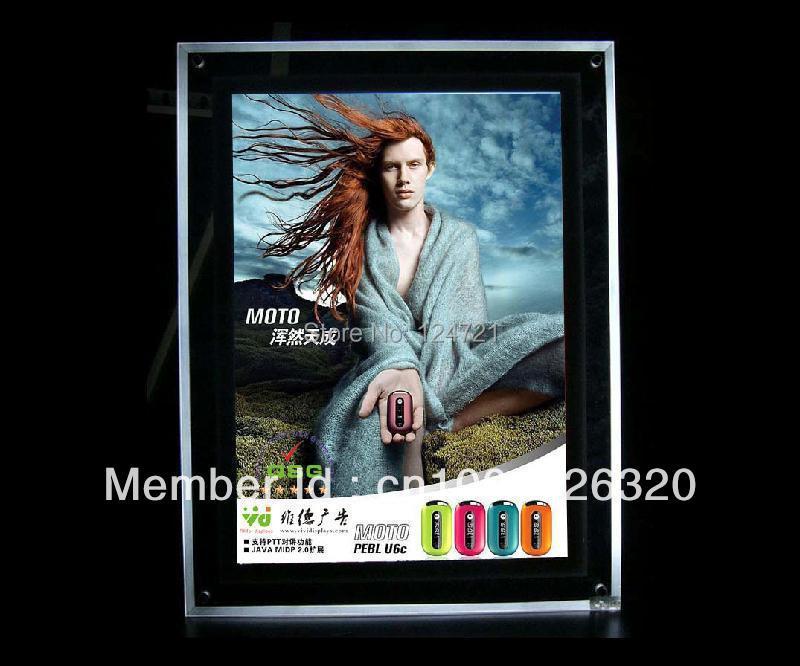 retangulo ultra fino caixa de luz led acrilico cristal quadro backlit propaganda 2 pcs lote espelho