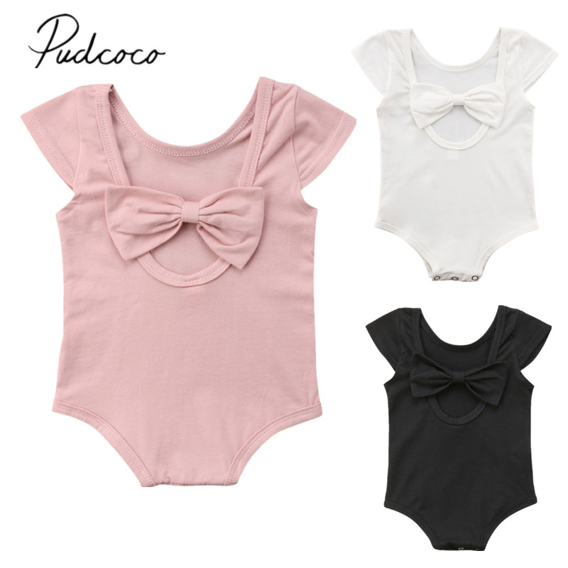 2018 Brand New Summer Casual Toddler Baby Girl Romper Short Sleeve Solid Back Bow Jumpsuits Romper Btief Outfit Wholesale 0-24Ms