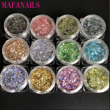 12 Boxes/Lot  Chameleon Ultra-thin Nail Flakes Art Glitter Holographic Scrap Colorful Peacock DIY Decoration