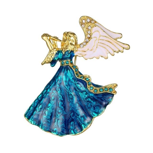 angel wings Music Angel brooch for women girl dress Accessories green & white cr
