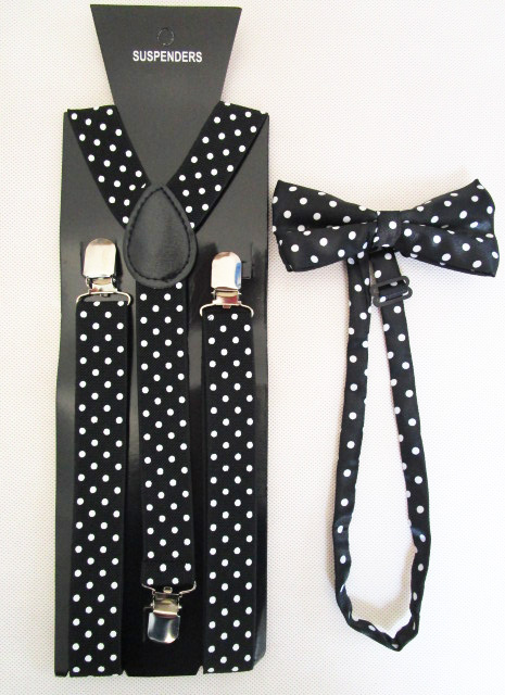 Free Shipping 2018 New Fashion Women Black Polka Dot Printed Bow Tie And Braces Sets For Ladies