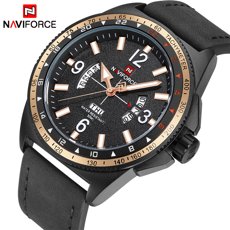 NAVIFORCE TOP Luxury Brand Men Fashion Sports Watches Men's Quartz Date Clock Man Leather Military Wrist Watch Relogio Masculino ybotti luxury brand men stainless steel gold watch men s quartz clock man sports fashion dress wrist watches relogio masculino