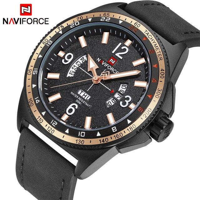1f6cd249f30c0 Naviforce أعلى الساعات الفاخرة الرجال الأزياء الرياضية الرجال الكوارتز  التاريخ ساعة رجل ساعة المعصم جلدية العسكرية
