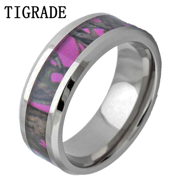 tigrade 8mm pink forest camouflage titanium ring women wedding engagement band camo men rings fashion jewelry - Cheap Camo Wedding Rings