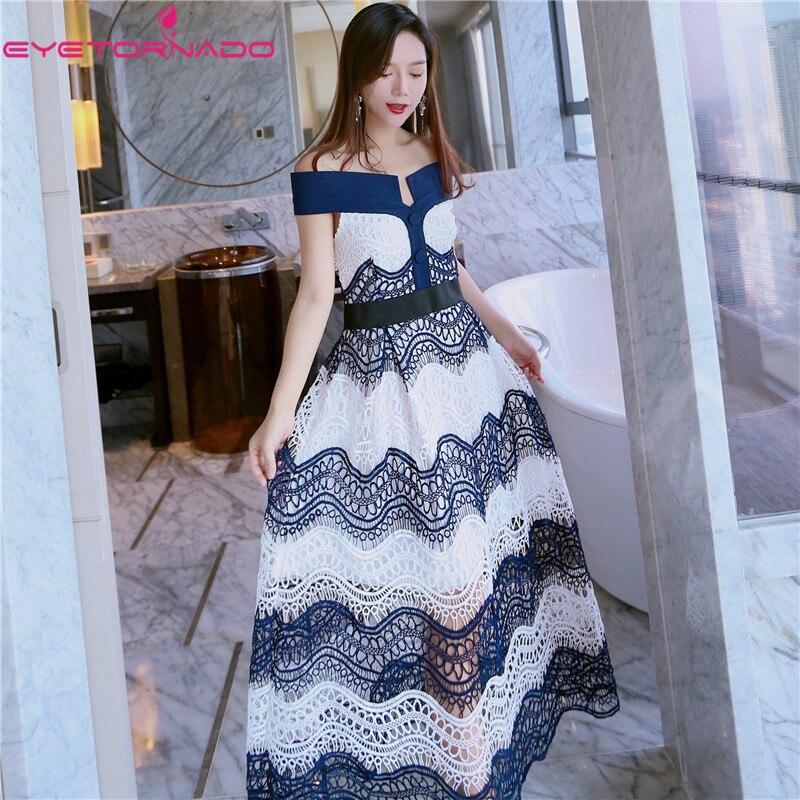 Women summer sexy hollow out lace dress slim long casual work party beach boho maxi dresses vestidos E1230