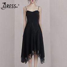 INDRESSME 2019 New Spaghetti Straps Lace Asymmetrical Hemline Little Black Dress Party Midi
