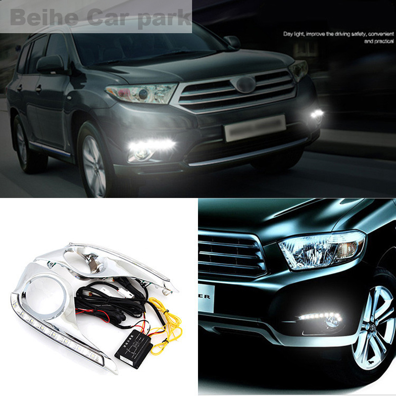 2pcs For Toyota Highlander 2012-2014 High quality Car styling New LED DRL Car-special LED Daytime Running Light new car styling auto lamp for toyota highlander 2012 2014 type c led daytime running light drl car accessories