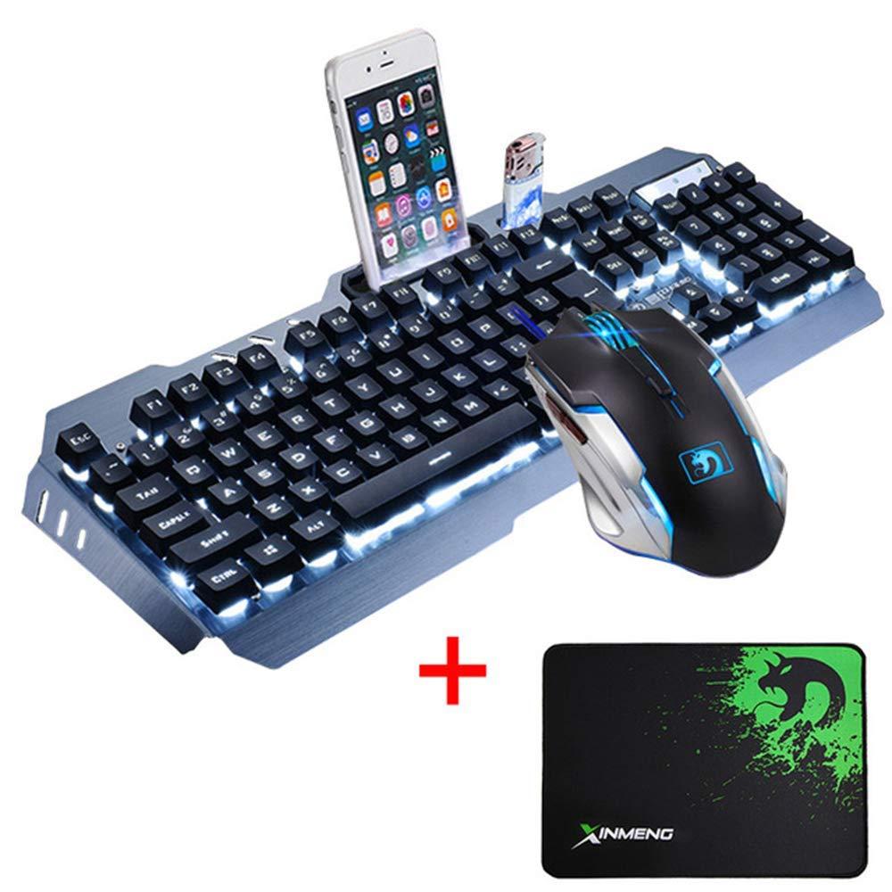 Clavier filaire 2400 DPI ensembles de souris Combo LED multimédia rétro-éclairé ergonomique USB clavier de jeu en métal tapis de souris étanche