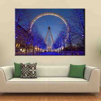 Large Canvas Romantic Night Bright Light Beautiful London Eye Wall Art Picture Painting Home Decor Canvas