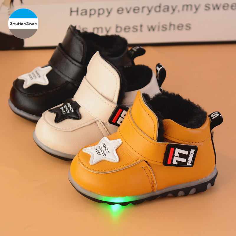 2019 Led Luminous Winter Baby Casual Shoes Warm Cotton Shoes Soft Newborn First Walk Prewalker Boys And Girls Sports Shoes With Traditional Methods Mother & Kids