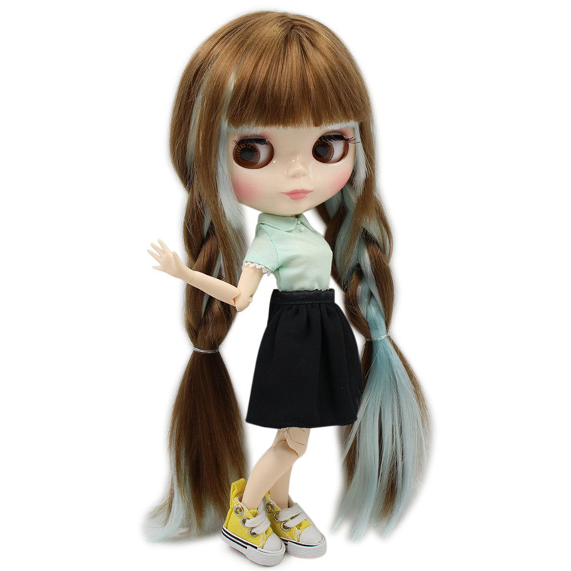 Nude Factory Blyth Doll No BL0623 6909 Brown mix blue hair white skin Joint body Neo