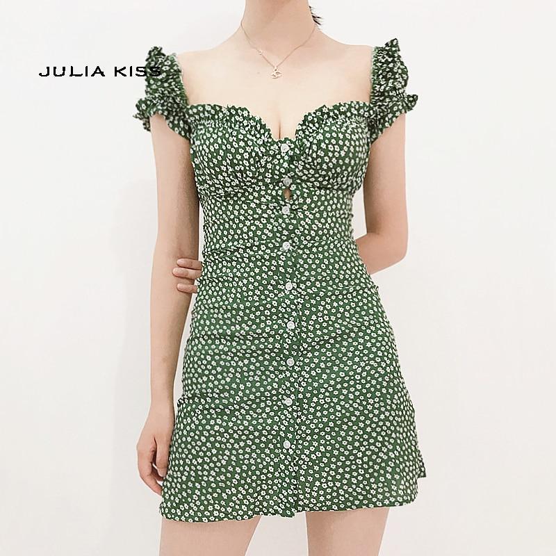 Women Sweet Heart Neck Floral Print Mini Dress Frill Trim Floral Print Green Dress