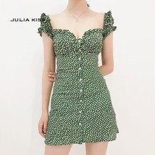 b753ef8f6e5 Для женщин Sweet Heart шеи Цветочный принт мини-платье оборкой Цветочный  принт зеленое платье