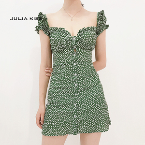 Women Sweet Heart Neck Floral Print Mini Dress Frill Trim Floral Print Green Dress(China)