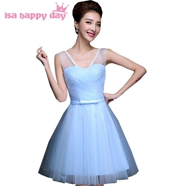 Robes de soirée nouveau vintage élégance femmes lumière ciel bleu sans manches fille robe de Cocktail robes de soirée nouvelle mode 2019 H3406