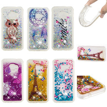 LUCKBUY Soft TPU Back Cover For Samsung Galaxy X 4 XCover4 G390 Dynamic Smile Flower Effiel Liquid Glitter Quicksand Case