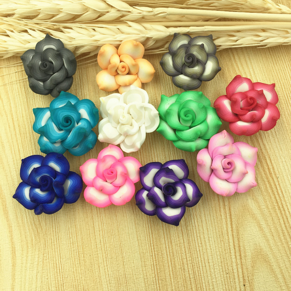 NºMini Order 10PCS Polymer Clay Flower Beads DIY Girls Hair Jewelry ...