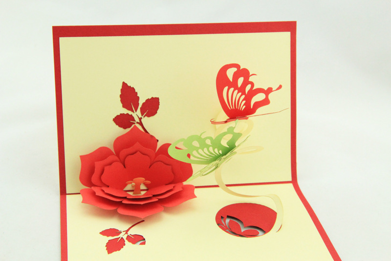 Free shipping new design flower butterfly mother 39 s day for Christmas card 3d designs