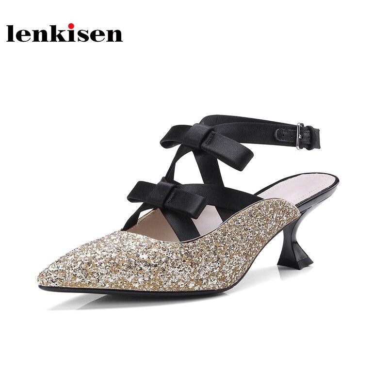 Lenkisen bling bling pointed toe high heels shoes bowtie buckle straps fashion slingbacks streetwear cross tied women pumps L19 фонарь фаzа af6 l19 sr