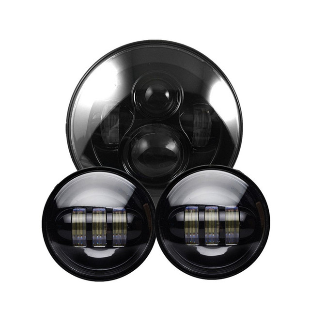 Black Harley Daymaker 7 inch Round LED Headlight With Matching Black 4.5 Inch LED Passing Lamps for Harley Daviddson Motorcycle