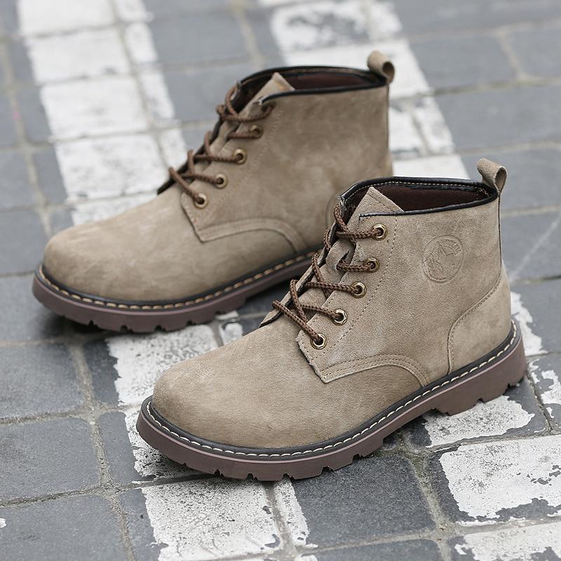 Chaussures de sécurité pour hommes respirant daim Martin bottes hommes tendance britannique outillage chaussures en caoutchouc semelle extérieure hommes Vintage bottes décontracté - 3
