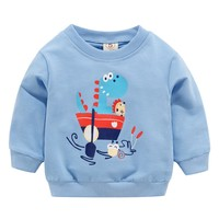 2019 Spring Autumn Baby Kids Cartoon Dinosaur Sweatshirts Children's Blue Sweatshirts Boys &Girl Clothes 0 3T