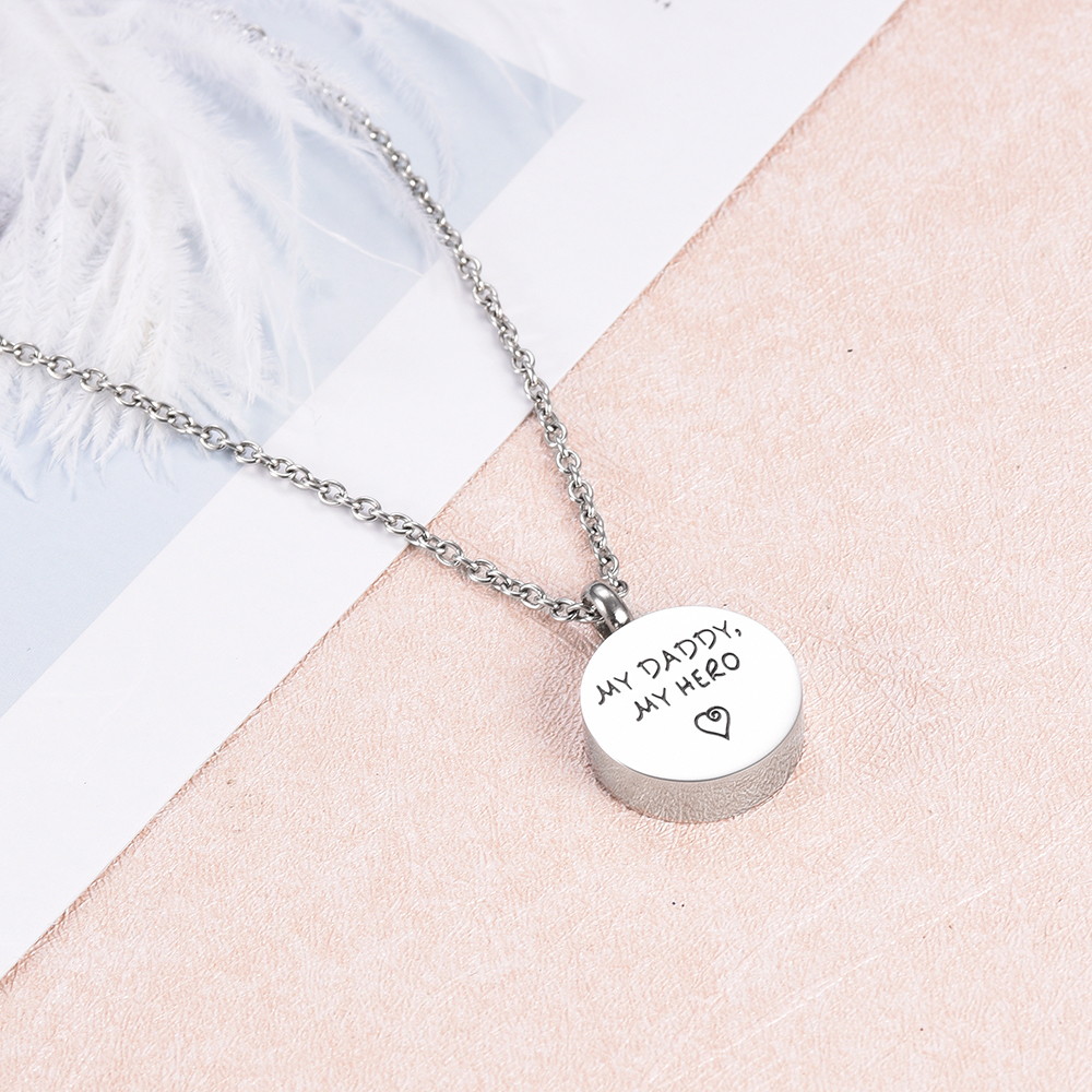 My Daddy my Hero Memorial Urn Necklace Stainless Steel Ashes Keepsake Cremation Jewelry for Funeral Locket Gift