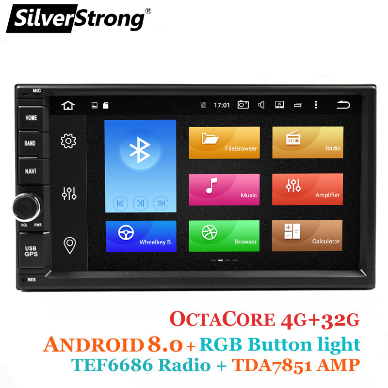 SilverStrong Android8.0 8Core 4GB32GB Universal 2Din Radio Car GPS Double DIN Radio TEF6686 Multimedia Autoradio TPMS XJ7001