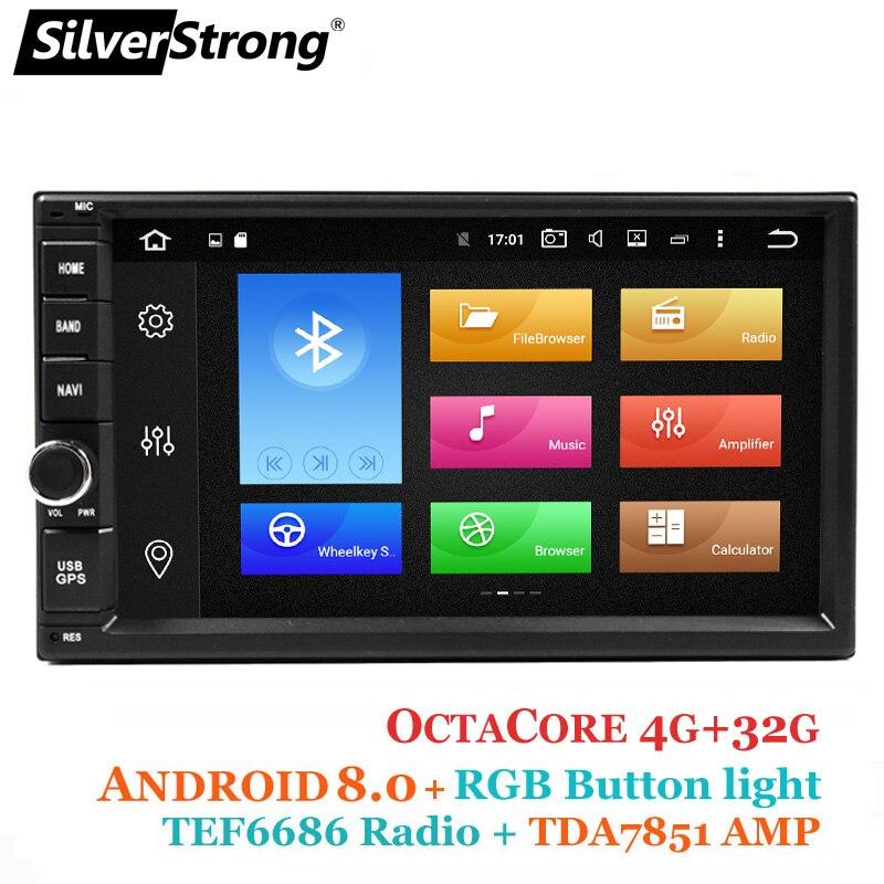 Silverstrong Android8.0 8 Core 4GB32GB Универсальный 2Din автомагнитолы DVD gps двойной радио DIN TEF6686 мультимедиа авторадио DSP-XJ7001