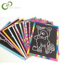 5 шт. 13x9,8 см бумага для скретч Арта Волшебная бумага для рисования с палочкой для рисования для детских игрушек красочные игрушки для рисования