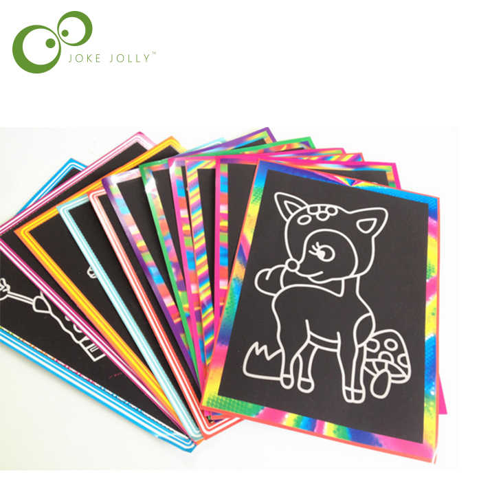 5 pcs 13x 9.8cm Scratch Art Paper Magic Painting Paper with Drawing Stick For Kids Toy Colorful Drawing Toys