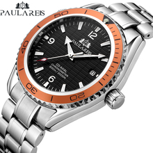 Men Automatic Self Wind Mechanical Stainless Steel Strap Simple Orange Blue Blac