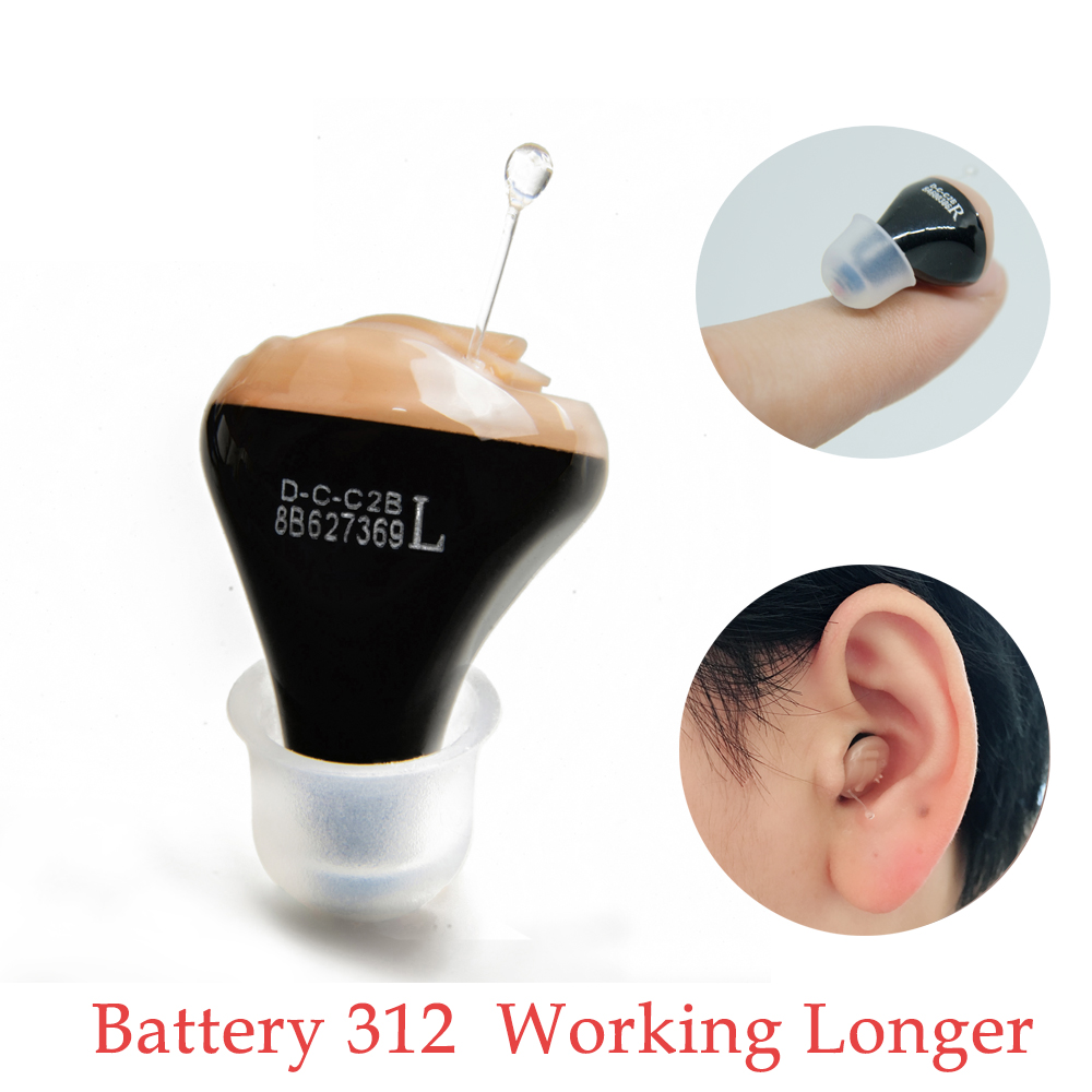 JF01 Digital Hearing Aid Mini Sound Amplifier In The Ear Portable Invisible Hearing Aids Battery 312