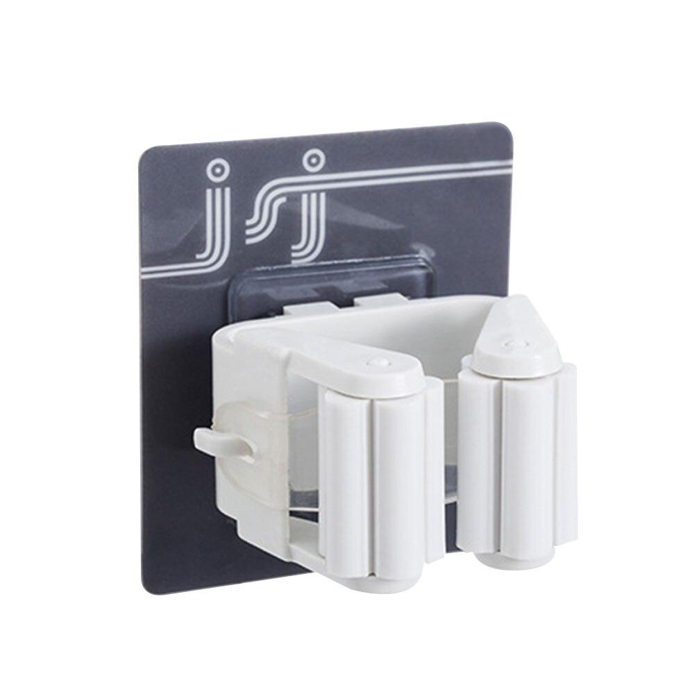 Вешалка держатель для швабры зажим для швабры Органайзер настенный портативный Настенный Съемный - Цвет: white