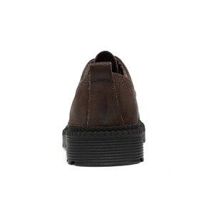 Image 4 - High Quality Genuine Leather Men Winter Boots Lace Up Warm Plush Snow Boots Ankle Botas Fashion Men Boots Plus Size 38 46