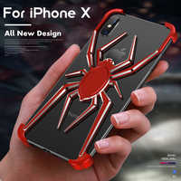 ADKO Luxury Spider Case for iPhone XR XS Max Armor Heavy Dust Protective For Aluminium Metal Bumper For iPhone X