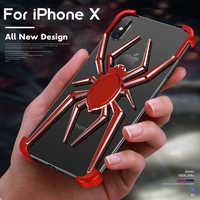 ADKO Luxus Spinne Fall für iPhone XR XS Max Rüstung Heavy Staub Schutzhülle Für Aluminium Metall Bumper Für iPhone X
